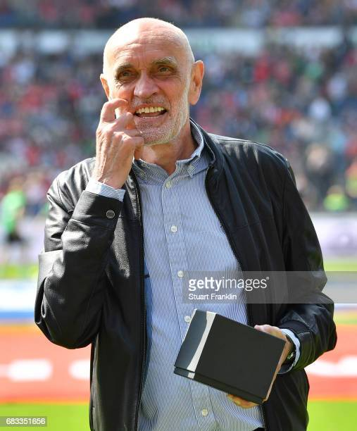 Martin Kind president of Hannover looks on during the Second Bundesliga match between Hannover 96 and VfB Stuttgart at HDIArena on May 14 2017 in...