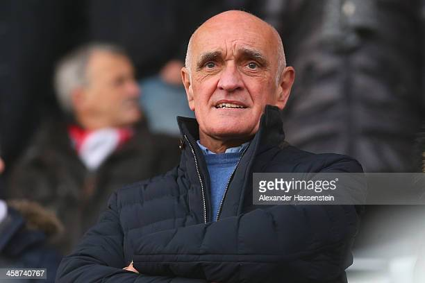 Martin Kind President of Hannover looks on prior to the Bundesliga match between SC Freiburg and Hannover 96 at MAGE SOLAR Stadium on December 21...