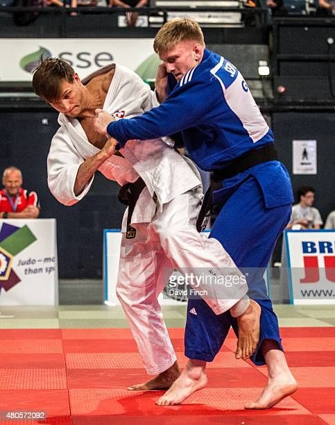 Martin Kistler of Switzerland attacks Sebastian Green of Great Britain eventually winning the u81kg contest by an ippon as he progressed to 7th place...