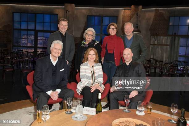 Martin Klempnow, Jutta Scheffzek, Bettina Boettinger, Axel Milberg Guido Knopp, Marion Kracht and Tobias Heinemann attend the Koelner Treff TV Show...