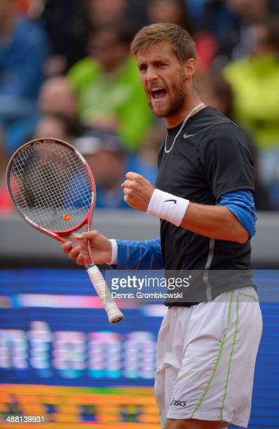 Martin Klizan of Slovakia celebrates winning the final against Fabio Fognini of Italy during the BMW Open on May 4, 2014 in Munich, Germany.