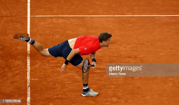 Martin Klizan of Slovakia in action against Daniel Altmaier of Germany on day one during the Hamburg Open 2019 at Rothenbaum on July 22, 2019 in...