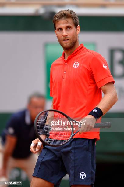Martin Klizan of Slovakia looks on during his mens singles second round match against Lucas Pouille of France during Day six of the 2019 French Open...