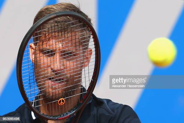 Martin Klizan of Slovakia plays a fore hand during his qualification match against Jozef Kovalik of Slovakia on day 2 of the BMW Open at MTTC IPHITOS...