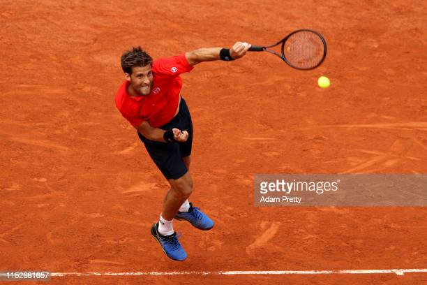 Martin Klizan of Slovakia plays a forehand during his mens singles second round match against Lucas Pouille of France during Day five of the 2019...