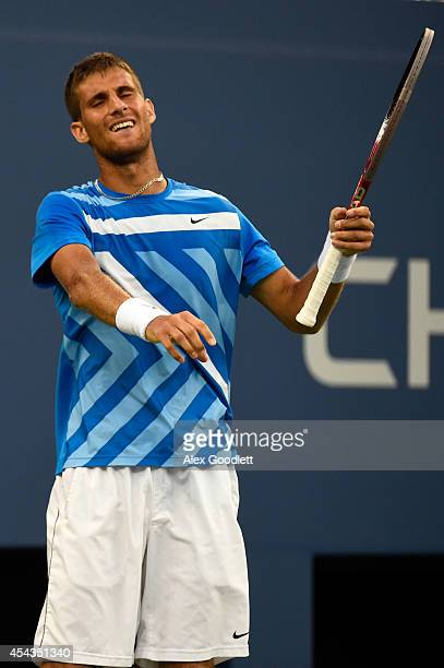 Martin Klizan of Slovakia reacts against Tomas Berdych of the Czech Republic during their men's singles second round on Day Five of the 2014 US Open...