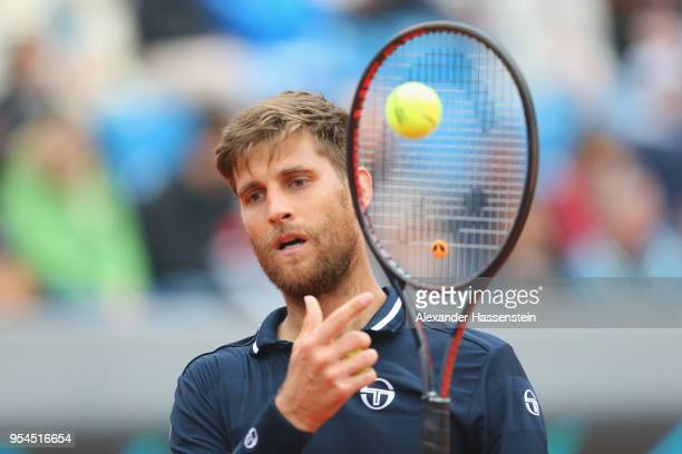 Martin Klizan of Slovakia reacts during his 3rd round match against Hyeon Chung of Korea on day 7 of the BMW Open by FWU at MTTC IPHITOS on May 4,...