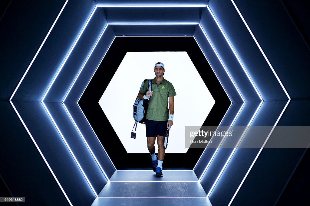 Martin Klizan of Slovakia walks out for his men's singles first round match against Nicolas Mahut of France on day two of the BNP Paribas Masters at Palais Omnisports de Bercy on November 1, 2016 in Paris, France.