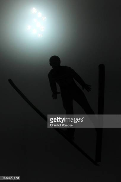 Martin Koch of Austria competes in the Men's Ski Jumping HS106 Qualification round during the FIS Nordic World Ski Championships at Holmenkollen on...