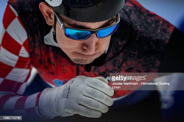 Martin Kolenc of Croatia competes in the Men's 500m heat 9 during the ISU European Short Track Speed Skating Championships at Sportboulevard on...