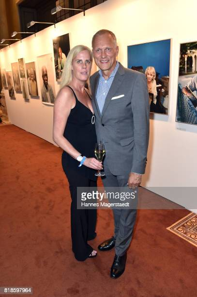 Martin Kolonko and his wife Anke Kolonko during the exhibition 'American Jazz Heroes' at Hotel Bayerischer Hof on July 18 2017 in Munich Germany