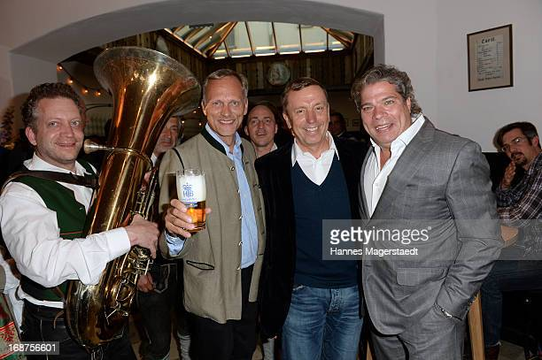 Martin Kolonko Franz Rauch and Thomas Peter Friedl attend the 'Tegernsee Tal Braeuhaus' Opening on May 14 2013 in Munich Germany