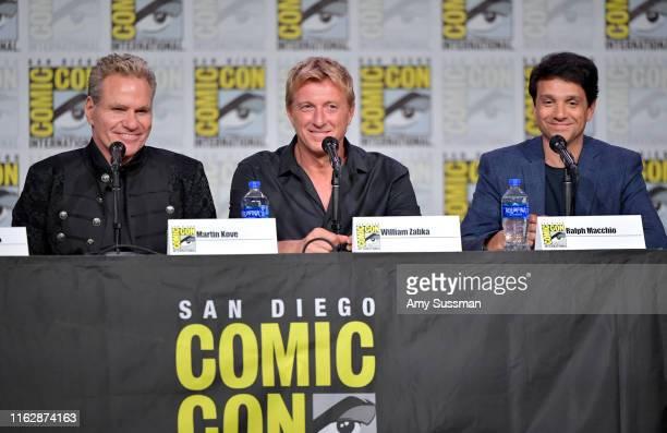 "Martin Kove, William Zabka and Ralph Macchio speak at the ""Cobra Kai: Past, Present, And Future"" panel during 2019 Comic-Con International at San..."