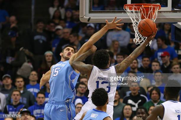 Martin Krampelj of the Creighton Bluejays in action against Myles Powell of the Seton Hall Pirates during a game at Prudential Center on February 9...