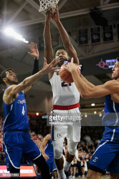 Martin Krampelj of the Creighton Bluejays strips the ball from Rui Hachimura of the Gonzaga Bulldogs in the first half at McCarthey Athletic Center...