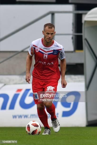 Martin Kreuzriegler of FC Linz during the 2 Liga match between FC Juniors OOe v FC Blau Weiss Linz at TGW Arena on October 7 2018 in Pasching Austria
