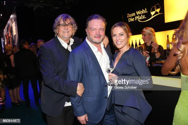 Martin Krug Alexander Fuerst zu SchaumburgLippe and Jule Goelsdorfduring the 'Tribute To Bambi' gala at Station on October 5 2017 in Berlin Germany