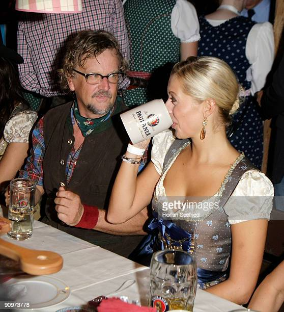 Martin Krug and girlfriend Verena Kerth attend the Oktoberfest 2009 opening at Kaefer Schaenke at the Theresienwiese on September 19 2009 in Munich...