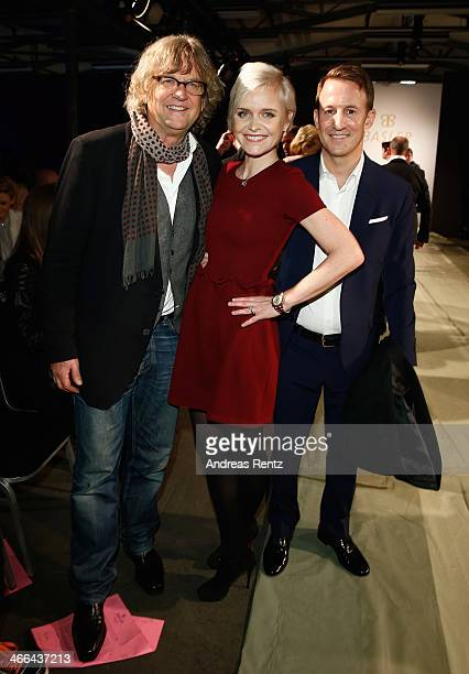 Martin Krug, Barbara Sturm and Adam Waldman attend the Basler fashion show on February 1, 2014 in Dusseldorf, Germany.