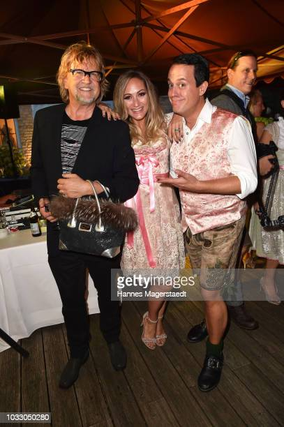 Martin Krug Daniela Hentze and Gregor Glanz during the Ophelia Blaimer Wiesn couture celebration on September 13 2018 in Munich Germany