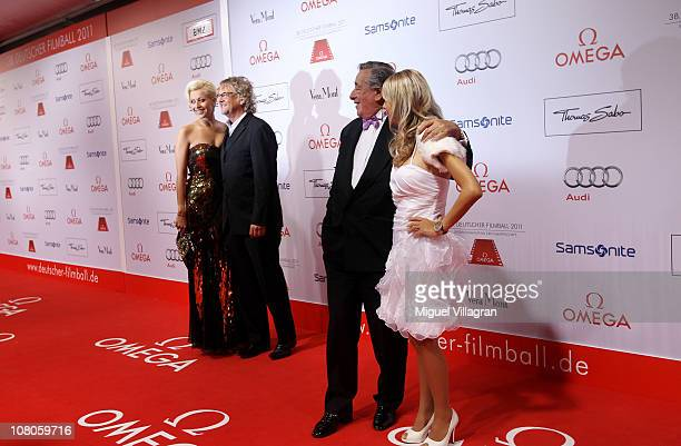 Martin Krug with his girlfriend Verena Kerth and Richard Lugner and his girlfriend Anastasia Sokol arrive for the German Filmball 2011 at Hotel...