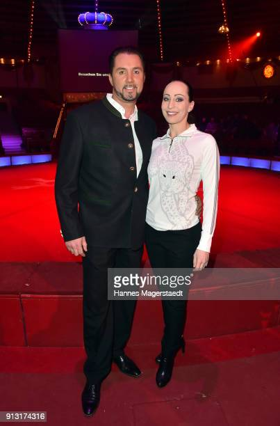 Martin Lacey Jr and his wife Jana LaceyKrone during Circus Krone celebrates premiere of 'Hommage' at Circus Krone on February 1 2018 in Munich Germany