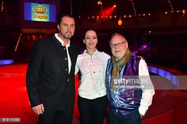 Martin Lacey Jr Jana LaceyKrone and Joseph Vilsmaier during Circus Krone celebrates premiere of 'Hommage' at Circus Krone on February 1 2018 in...