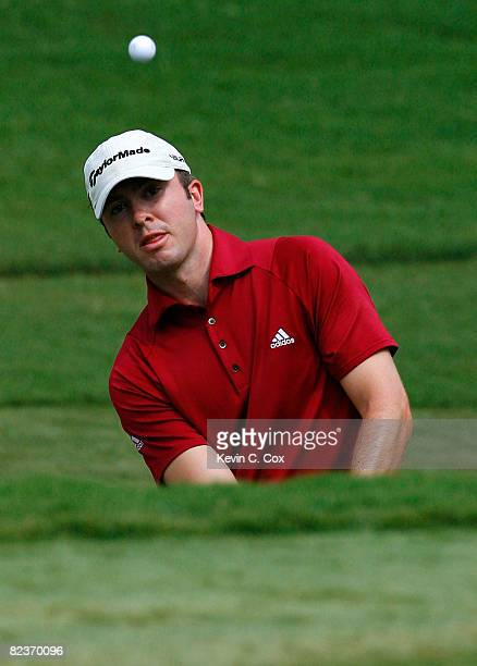 Martin Laird chips onto the 17th green during the second round of the 2008 Wyndham Championship at Sedgefield Country Club on August 15, 2008 in...