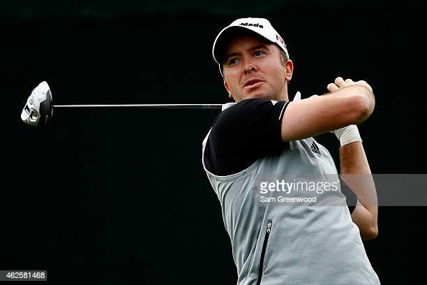 Martin Laird hits a tee shot on the 18th hole during the third round of the Waste Management Phoenix Open at TPC Scottsdale on January 31 2015 in...