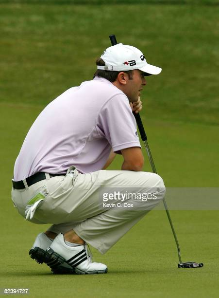Martin Laird lines up his birdie putt on the eighth green during the final round of the 2008 Wyndham Championship at Sedgefield Country Club on...