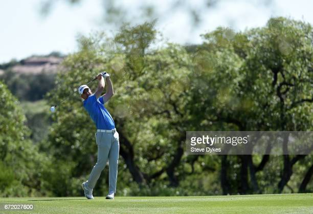 Martin Laird of Scotland plays his shot on the 18th hole during the final round of the Valero Texas Open at TPC San Antonio ATT Oaks Course on April...