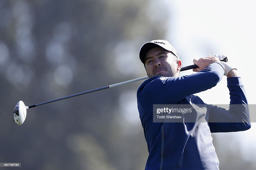 Martin Laird of Scotland tees off on the 15th hole of the South Course during the Farmers Insurance Open Pro Am at Torrey Pines Golf Course on February 4, 2015 in San Diego, California.