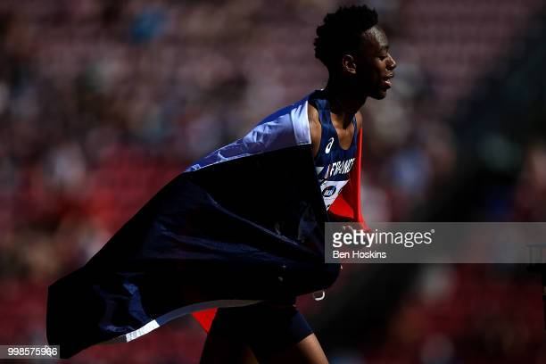 Martin Lamou of France celebrates after winning silver in the final of the men's triple jump on day five of The IAAF World U20 Championships on July...