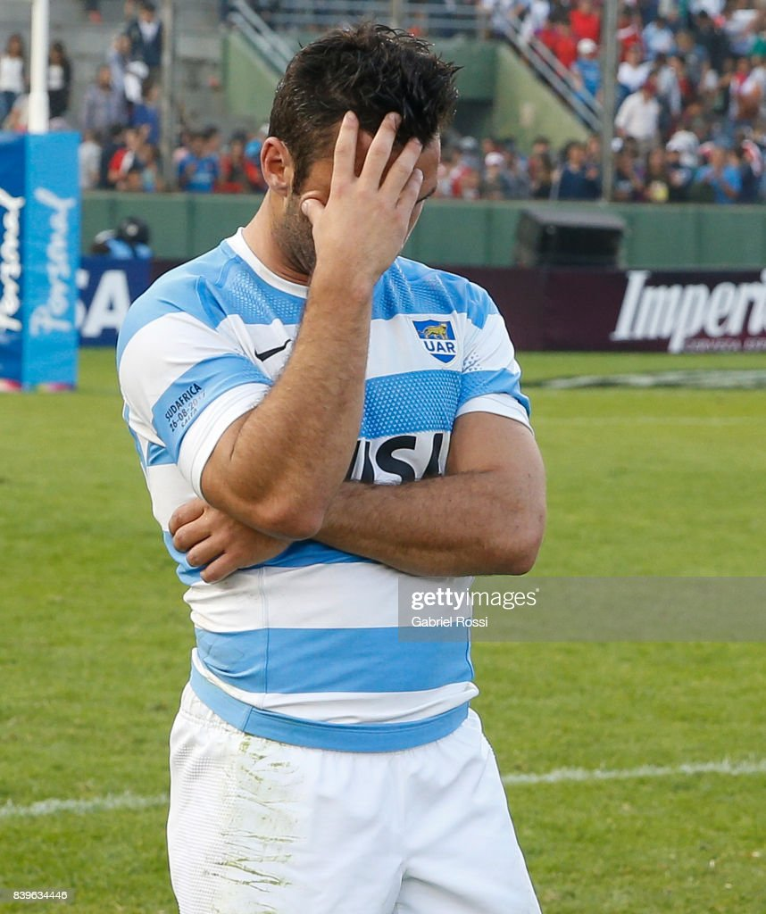 Martin Landajo of Argentina looks dejected after the round two match between Argentina and South Africa as part of The Rugby Championship 2017 at Padre Martearena Stadium on August 26, 2017 in Salta, Argentina. South Africa wore a red commemorative jersey to celebrate the 25th anniversary of rugby unity in South Africa.