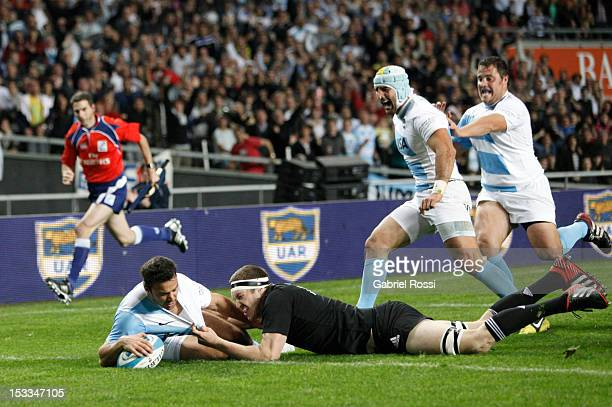 Martin Landajo of Argentina make the first try during the match between Argentina and New Zealand as part of The Rugby Championship at Ciudad de la...