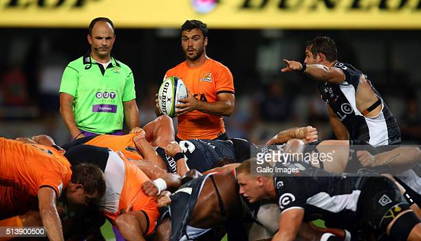 Martin Landajo of the Jaguares during the 2016 Super Rugby match between Cell C Sharks and Jaguares at Growthpoint Kings Park Stadium on March 05...