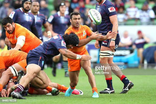 Martin Landajo of the Jaguares passes the ball during the round nine Super Rugby match between the Rebels and the Jaguares at AAMI Park on April 14...