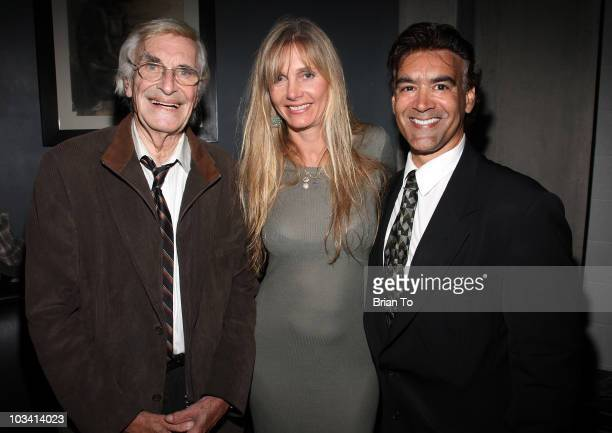 Martin Landau Gretchen Becker and BelAir magazine publisher Rick Amor attend the wrap party for the feature film 'Mysteria' on August 16 2010 in...