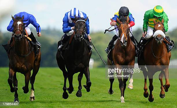 Martin Lane riding Feedyah win The Nytimber Hyperion Fillies' Conditions Stakes at Ascot racecourse on September 07 2013 in Ascot England