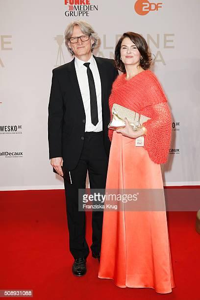 Martin Langer and Barbara Auer attend the Goldene Kamera 2016 on February 6, 2016 in Hamburg, Germany.