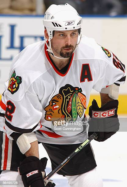 Martin Lapointe of the Chicago Blackhawks skates against the Atlanta Thrashers during the game on December 11 2005 at Philips Arena in Atlanta...