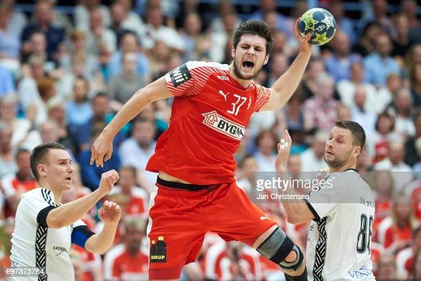 Martin Larsen of Denmark in action during the European Championship Croatia 2018 Playoff match between Denmark and Latvia at Sydbank Arena on June 18...