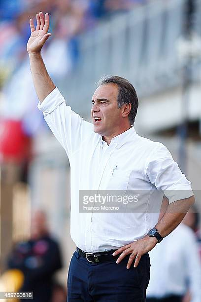 Martin Lasarte head coach of Universidad de Chile shouts intructions to his players during a match between Nublense and Universidad de Chile as part...