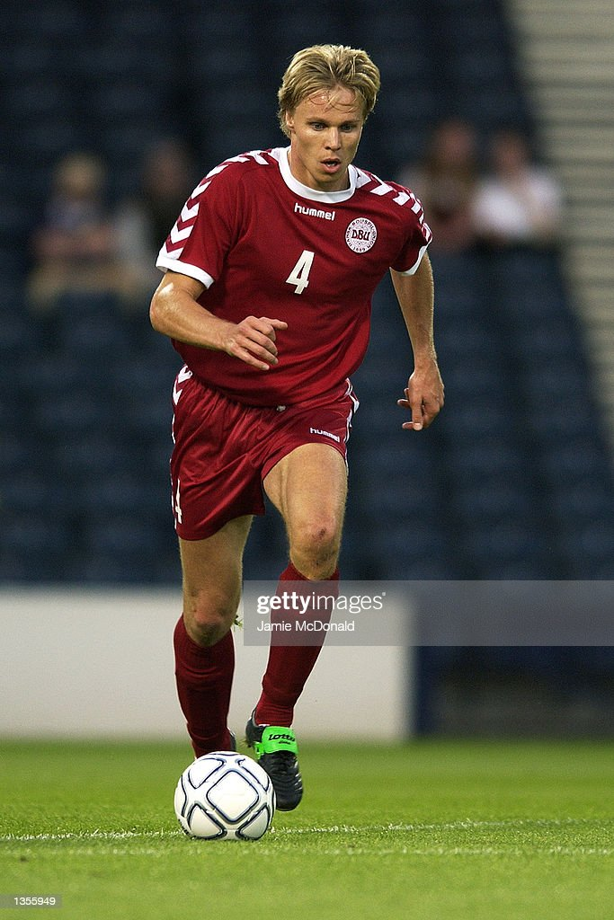 Martin Laursen of Denmark in action during the International Friendly between Scotland and Denmark at Hampden Park in Glasgow, Scotland on August 21, 2002.