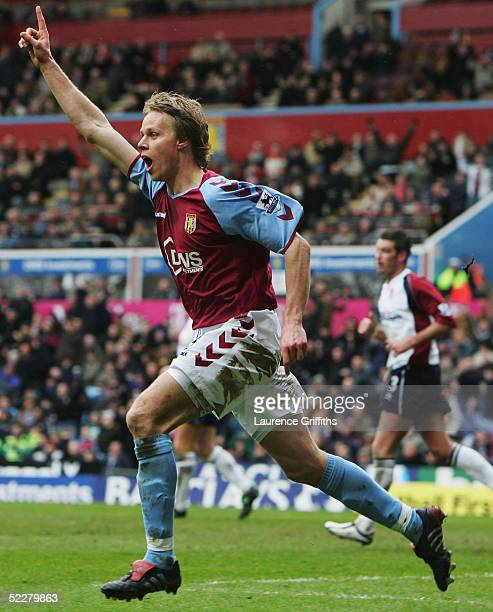 Martin Laursen of Villa celebrates scoring during the Barclays Premiership match between Aston Villa and Middlesbrough at Villa Park on March 5 2005...