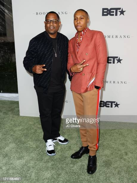 Martin Lawrence and Lena Waithe attend the premiere of BET's Boomerang Season 2 at Paramount Studios on March 10 2020 in Los Angeles California