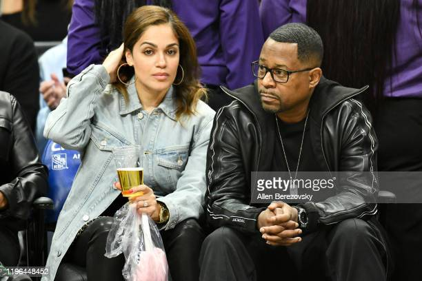 Martin Lawrence and Roberta Moradfar attend a basketball game between the Los Angeles Clippers and the Utah Jazz at Staples Center on December 28...