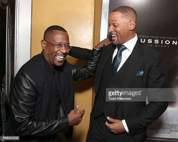 Martin Lawrence and Will Smith attend a screening Of Columbia Pictures' Concussion at Regency Village Theatre on November 23 2015 in Westwood...