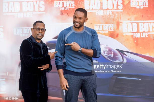 Martin Lawrence and Will Smith attend 'Bad Boys For Live' photocall at Villamagna Hotel on January 08, 2020 in Madrid, Spain.