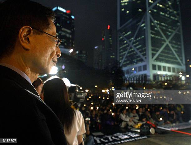 Martin Lee former chairman of Democratic Party attends a rally at the Chater garden in Hong Kong 01 April 2004 The rally was held to oppose the...